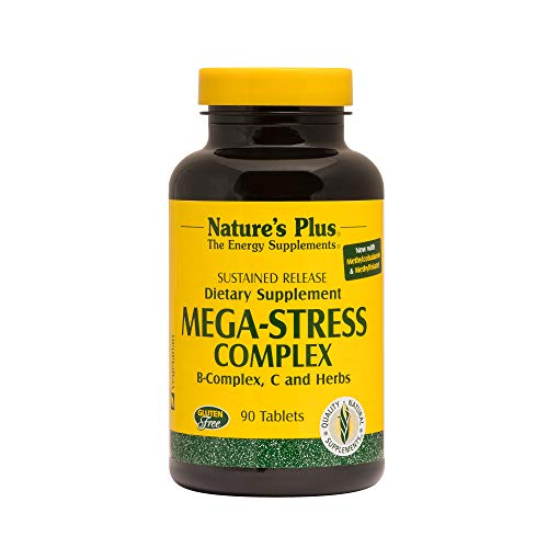 Natures Plus Mega-Stress Complex - 90 Vegetarian Tablets, Sustained Release - B Complex, Vitamin C Stress Relief Supplement, Chamomile and Herbs for Natural Calm - Gluten Free - 90 Servings