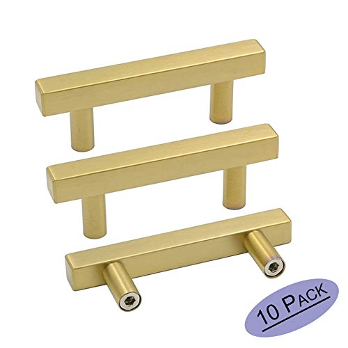 goldenwarm Brushed Brass Cabinet Pulls Gold Kitchen Cabinet Hardware - LS1212GD64 Euro Style Bar Handle Pull Gold Cupboard Door Handle 2-1/2 (64mm) Hole Centers,4 Overall Length 10 Pack