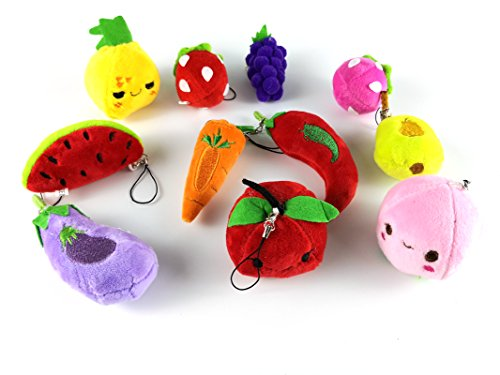 HAPTIME 11 Pcs Mini Fruits Vegetables Plush Toy with Key Chain, Small Bulk Stuffed Toys 2.5- 3 for Kids Children Party Favors Fillers Bag Decoration