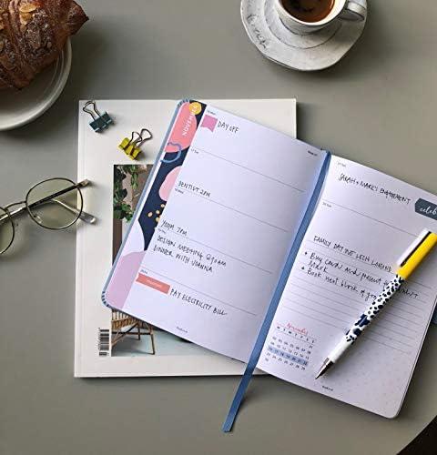 """Busy B Terminkalender """"Perfect Planner"""" ab Jahresmitte von August 2020 bis August 2021 – A5-Planer in blauem Kunstleder mit Wochenansicht, Stickern, Stifthalter und Listenblock"""