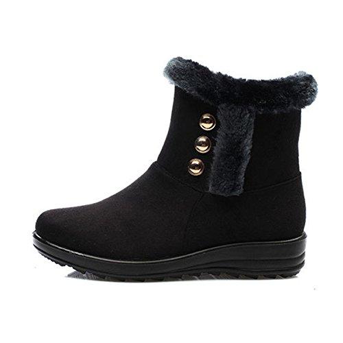Sehr geehrte Zeit Frauen Winter Warm Button Snow Boots Schwarzer Rivet