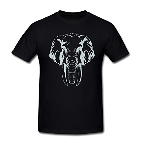 Drong Men's The Elephant Head T-Shirt L Black (Collins Abstract Painting)