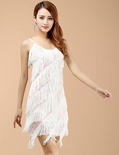 Pailletten Cha Cha Damen Tanzkleidung Quaste Weiß Stück Lateinkleid ...