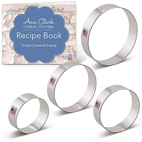 Circle/Round/Biscuit Cookie Cutter Set with Recipe Book - 4 piece - 2.5