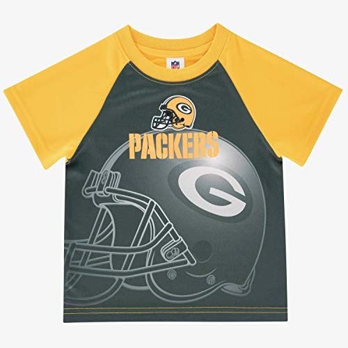 NFL Green Bay Packers Boys Short Sleeve Tee Shirt, Black, 4T, Green/Gold (Packers Shirt Girls)
