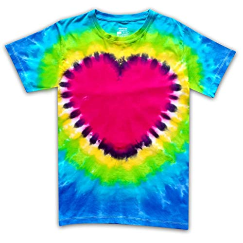 HiHippy Tie Dye T-Shirt Hippie Men Women Heart Love Short Sleeve Colorful Color (XL) ()