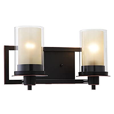 "Designers Impressions Juno Oil Rubbed Bronze 2 Light Wall Sconce/Bathroom Fixture with Amber and Clear Glass: 73470 - Finish: Oil Rubbed Bronze --- Glass: Amber and Clear Height: 8-1/4"" ---- Width: 14-1/2"" Bulb Requirements (Not Included): (2) Two Medium Base 60 Watt - bathroom-lights, bathroom-fixtures-hardware, bathroom - 41gDGht3eVL. SS400  -"