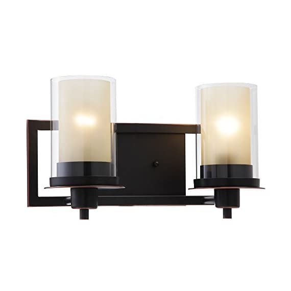 """Designers Impressions Juno Oil Rubbed Bronze 2 Light Wall Sconce/Bathroom Fixture with Amber and Clear Glass: 73470 - Finish: Oil Rubbed Bronze --- Glass: Amber and Clear Height: 8-1/4"""" ---- Width: 14-1/2"""" Bulb Requirements (Not Included): (2) Two Medium Base 60 Watt - bathroom-lights, bathroom-fixtures-hardware, bathroom - 41gDGht3eVL. SS570  -"""