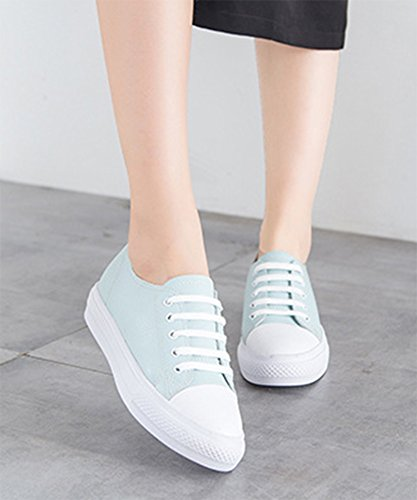 Aisun Damen Neu Durchgängiges Plateau Low-Top Schnürsenkel Sneakers Blau
