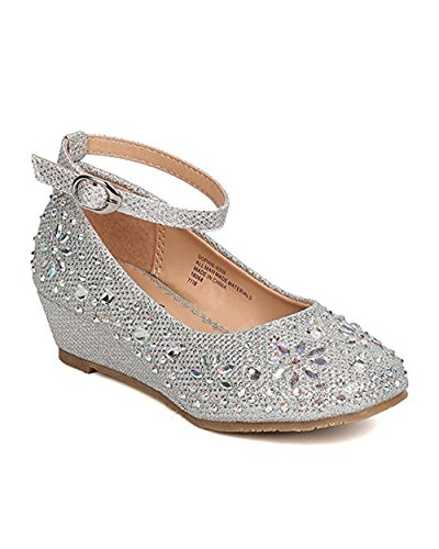 Little Angel Girls Glitter Rhinestone Wedge Dress Shoe Silver Little Kid 2) -