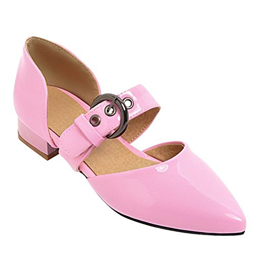 Mee Shoes Damen Flach Schnalle Instep Strap Pumps Pink