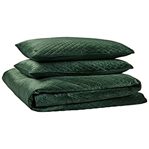 Rivet Modern Diamond Quilted Velvet Coverlet Set, Full/Queen, Emerald Green