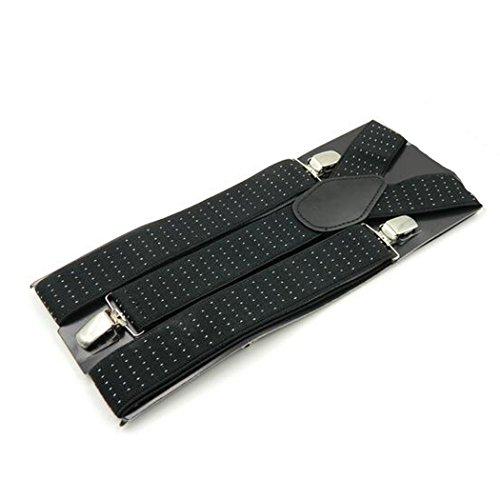 Kllniss Men's Clip Suspender Y-Back Adjustable Elastic Shoulder Strap 1.4'' Wide (One Size, Black) by Kllniss (Image #5)