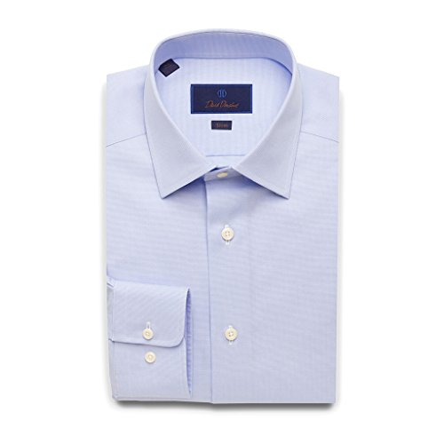 David Donahue Slim Fit Micro Dobby Weave Dress Shirt 17'' Neck 32/33'' Sleeve Sky Blue by David Donahue