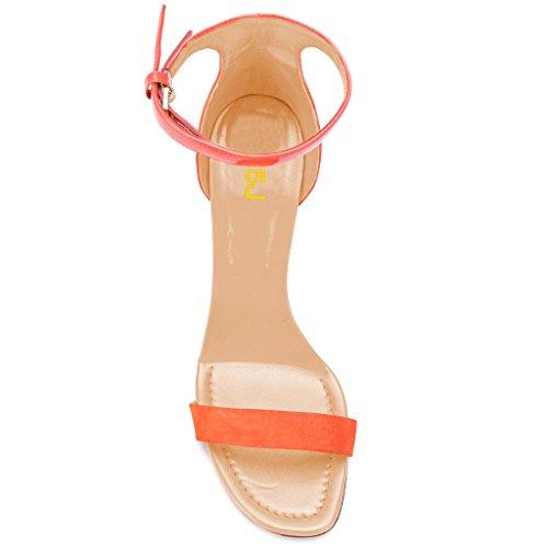 Fsj Donne Classiche Tacco Alto Sandali Con Cinturino Due Pezzi Open Toe Tacchi A Spillo Scarpe Estive Taglia 4-15 Arancione