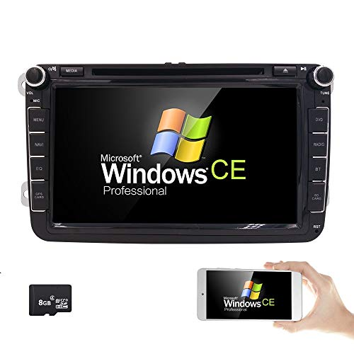 hizpo 8inch TV Monitor HD Touchscreen Auto Car DVD Player GPS Navigator for Volkswagen Jetta Golf Passat Tiguan T5 VW Skoda Seat with CanBus Bluetooth Map Card RDS Radio USB Port SD Slot