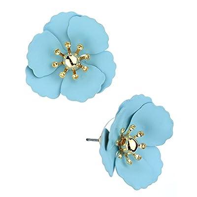 Discount Women's Metal Matte Flower Petal Stud Pierced Earrings, Light Blue