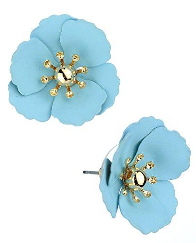 - Women's Metal Matte Flower Petal Stud Pierced Earrings, Light Blue