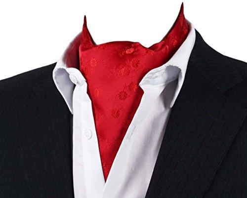 MENDENG Mens Red Floral Paisley Jacquard Woven Silk Cravat Necktie Scarf Ascot