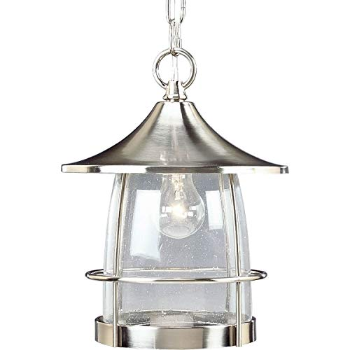 - Progress Lighting P5563-09 1-Light Hanging Lantern with Wire Frames and Clear Seeded Glass, Brushed Nickel