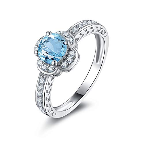 Ring for Women Fashion Sterling Silver Rings Round Blue Topaz Flower Band Size 8.5 -