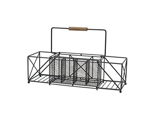 - Gourmet Basics by Mikasa 5228877 Baler Expandable Picnic Plate Napkin and Flatware Storage Caddy, Large, Antique Black