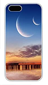 iPhone 5 5S Case Seaside Moonlight PC Custom iPhone 5 5S Case Cover White