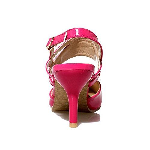 Boucle d'orteil Unie Cuir à Femme Sandales AgooLar PU Rouge Correct Fermeture Talon Couleur nwpq1wx8g4