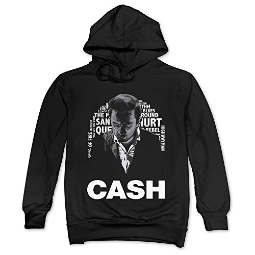 LaviV Men's Johnny Cash Poster Rign Of Fire I Walk The Line Hoodie Black - Gift Giving Hoodie