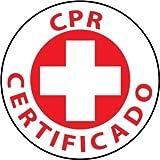 NMC HH39 2'' x 2'' PS Vinyl Hard Hat Emblem w/Legend: ''CPR Certificado'', 12 Packs of 25 pcs