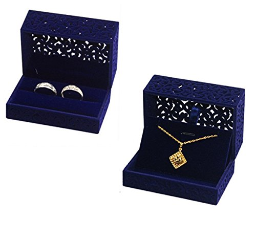 FUTISKY Velvet Ring Box Necklace Box Set, Navy Blue Hollow Jewelry Storage Box Double Ring Engagement Wedding Gift (Ring & Necklace Box Set) by FUTISKY