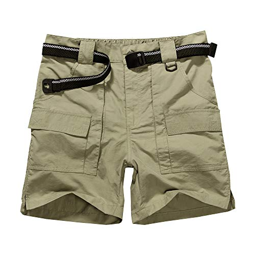Jessie Kidden Men's Fishing Cargo Shorts, Cotton Hiking Knee Length Big and Tall Pants #6033-Khaki,34