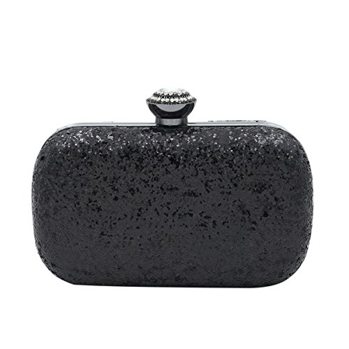 Evening Colors 4 Hard Sequin Black Rhinestones Clutch Bag Elegant Top Flakes Glitter zqFRnSSwv0