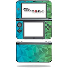 MightySkins Skin Nintendo 3DS XL (2015) - Blue Green Polygon   Protective, Durable Unique Vinyl Decal wrap Cover   Easy to Apply, Remove Change Styles   Made in The USA