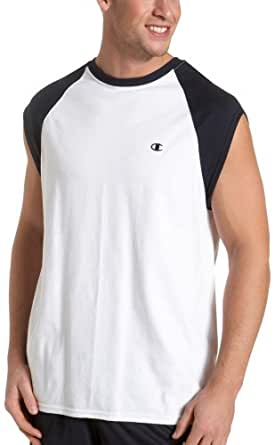 Champion Men's Jersey Muscle T-Shirt, White/Navy, Small