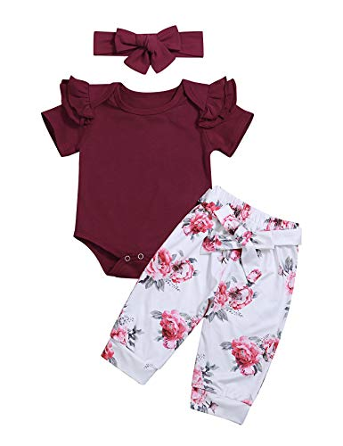3Pcs Infant Newborn Baby Girl Summer Clothes Ruffle Romper Top Bodysuit + Floral Pants with Headband Outfit Set (0-3M/70) -