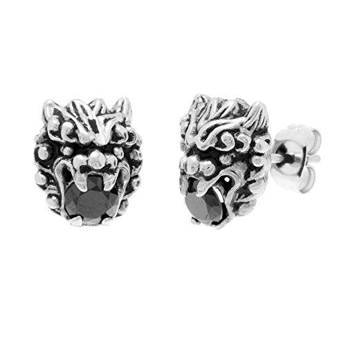 - Willowbird Black Cubic Zirconia Dragon Head Stud Earring for Men in Oxidized Stainless Steel