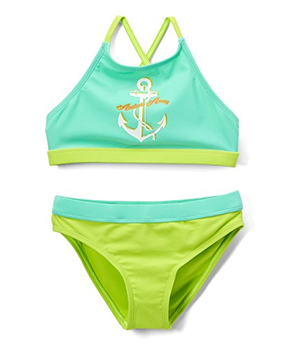 Girls' Fashion Ruffle Bikini Swimsuit Set with UPF 50+ Sun Protection (AB-Anchor, ()