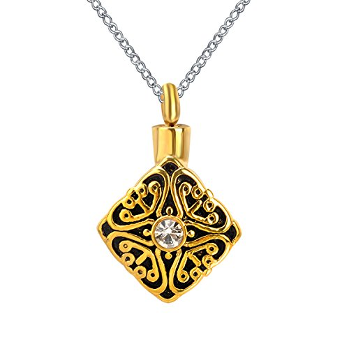 ZARABE Urn Necklace Gold Square Celtic Knot Retro Pattern With Rhinestones Memorial Keepsake Pendant Cremation Jewelry
