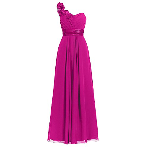 Dhs Ice - H.S.D Women's Simple Floral One Shoulder Long Bridesmaid Dresses Prom Gowns Fuchsia