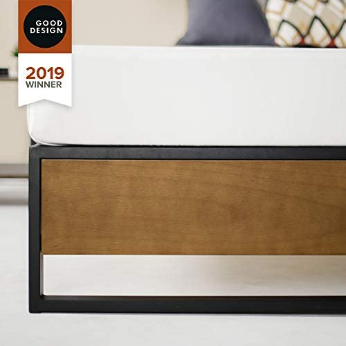 ZINUS GOOD DESIGN Award Winner Suzanne 14 Inch Metal and Wood Platforma Bed Frame / No Box Spring Needed / Wood Slat Suport, Brown, Queen 41gDLLhP9FL