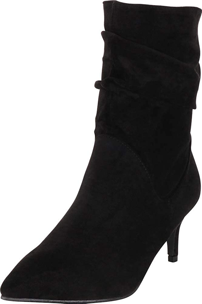 Black Imsu Cambridge Select Women's Pointed Toe Ruched Slouch Low Kitten Heel Ankle Boot