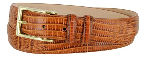 Adam Gold Men's Genuine Italian Calfskin Leather Dress Belt (38, Lizard Tan)