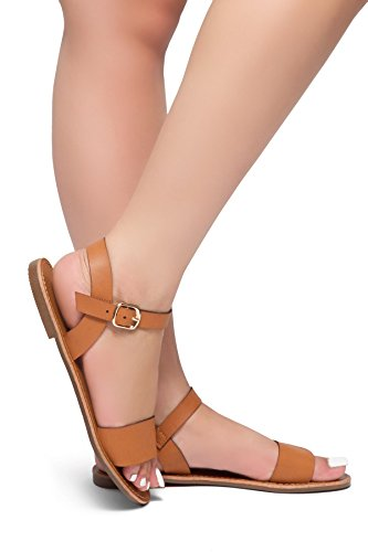 Herstyle Women's Keetton- Open Toe Ankle Strap Flat Sandals Cognac 8.0
