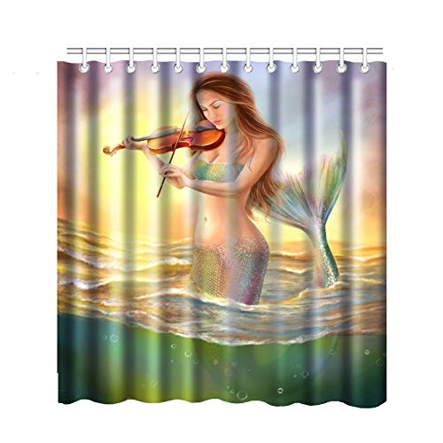 Bnxbb Mermaid Decor Shower Curtain Set, Mermaid Playing Violin Sunset View Colorful Realistic Design, Bathroom Accessories,with 12 Hooks,Size:66
