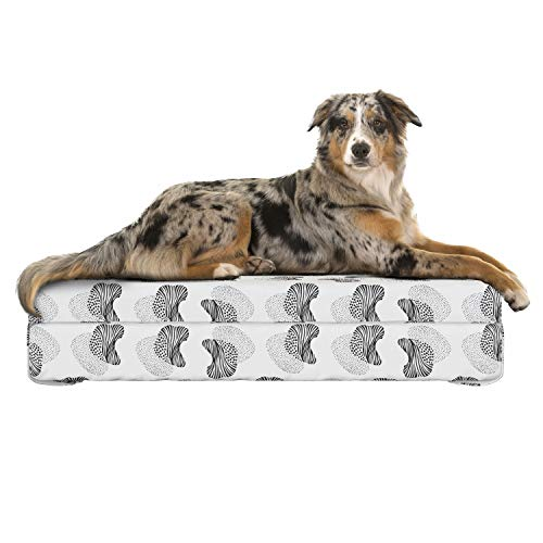 (Lunarable Abstract Dog Bed, Modern and Abstract Pattern with Hand-Drawn Textures Monochrome Style Print, Dog Pillow with High Resilience Visco Foam for Pets, 32