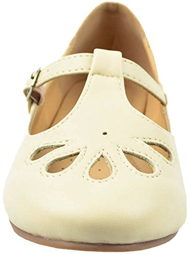 Round Toe Teardrop Strap Flat Cambridge Womens Nude Select Out Pu T Closed Cut I00Ctwq