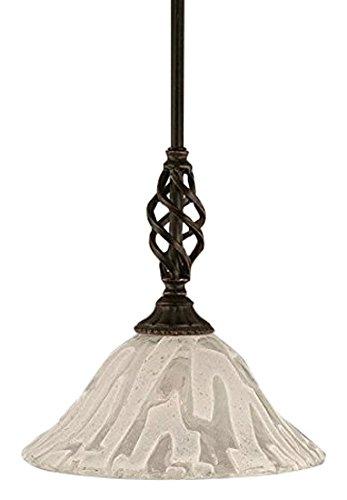 Toltec Lighting 80-DG-7193 Elegante Mini Pendant with Hang Straight Swivel with 10″ Italian Ice Glass, Dark Granite Finish