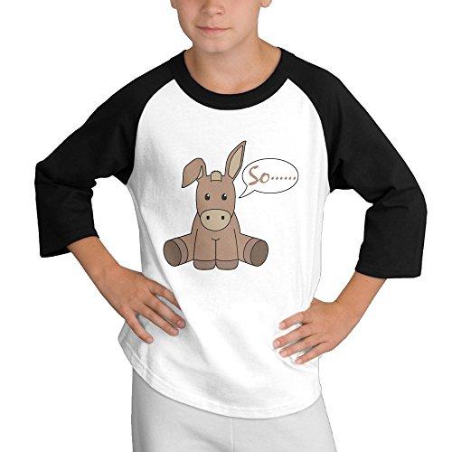 [MULTY9 Donkey Child Youth 3/4 Raglan T-Shirt Top Large] (Donkey Kong Costume For Women)