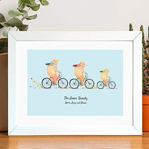 (Personalized Family Portrait Print of Bears on Bikes. A Beautiful Decorative Print for any Family Home )